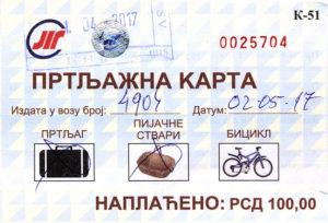 Prtljazna karta Srbija voza
