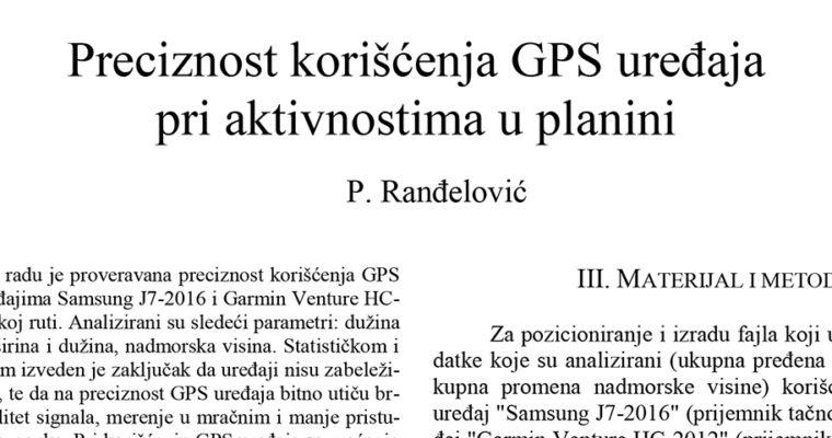 Preciznost korišćenja GPS uređaja  pri aktivnostima u planini