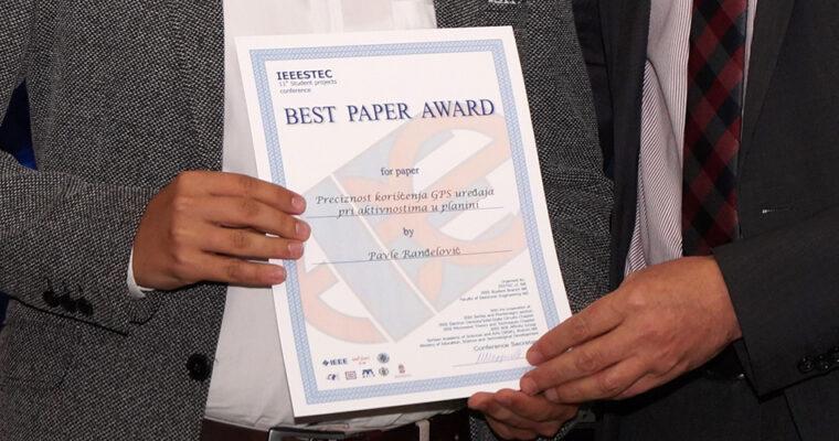 """""""Best Paper Award"""" priznanje na 11. IEEESTEC međunarodnoj konferenciji"""